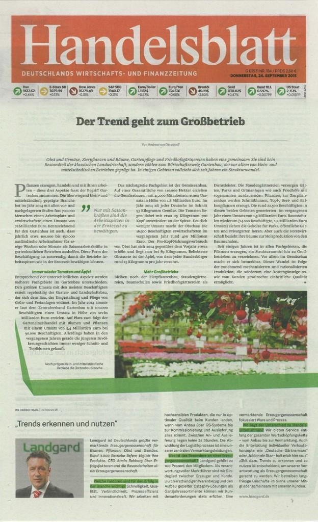 Landgard Presseinformation_Interview Handelsblatt-Beilage_Montage Landgard