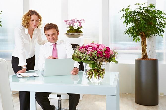 Bildunterschrift: Pflanzen helfen, Stress am Arbeitsplatz zu verringern und das Wohlbefinden zu steigern. (Bildnachweis: GMH/BVE)