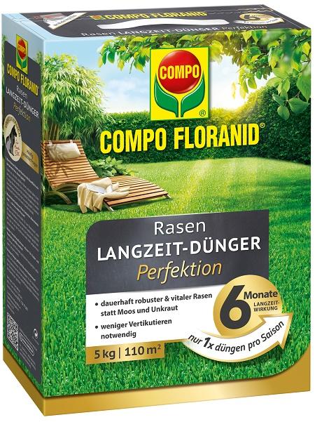 COMPO-Floranid-Rasen-Lanzeitdünger Perfektion 5 kg für 110 qm Rasenfläche (Foto: COMPO)